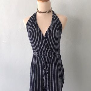 Navy and white sleeveless jumpsuit/Mustard sees/S